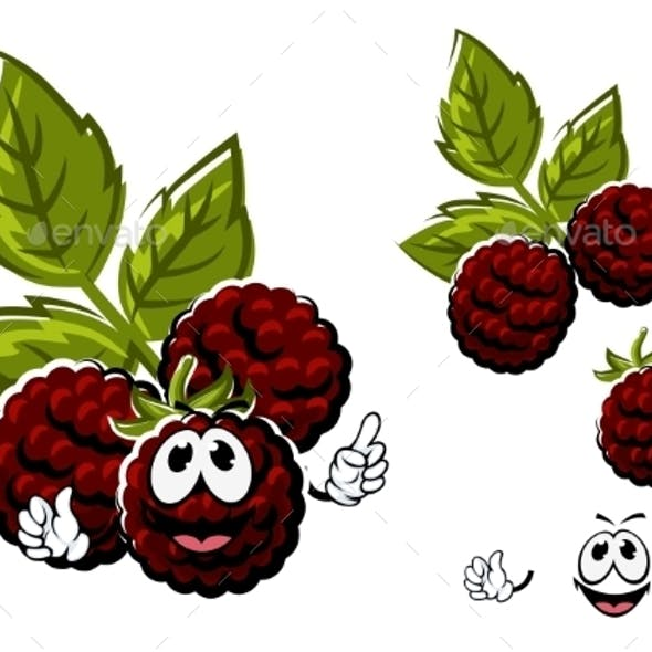 Cartoon Blackberry Berries Fruits With Leaves