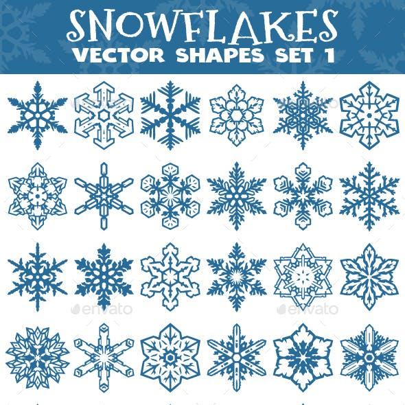 Decorative Snowflakes Vector Shapes Set 1
