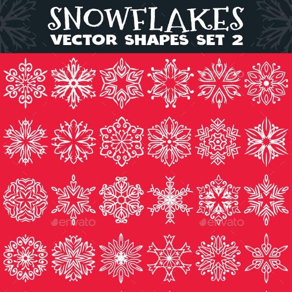 Decorative Snowflakes Vector Shapes Set 2