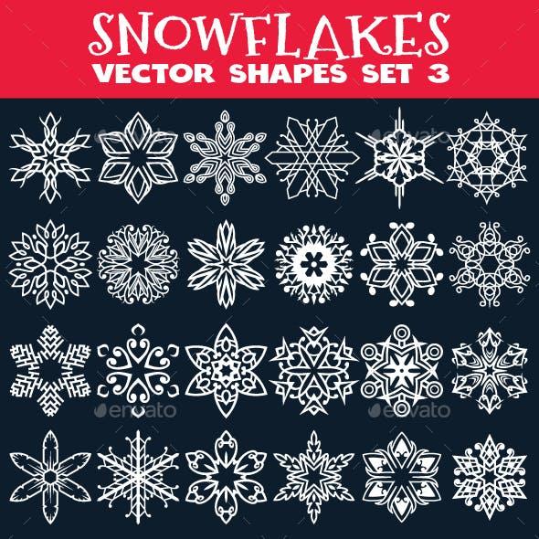 Decorative Snowflakes Vector Shapes Set 3