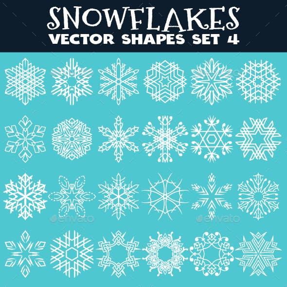 Decorative Snowflakes Vector Shapes Set 4