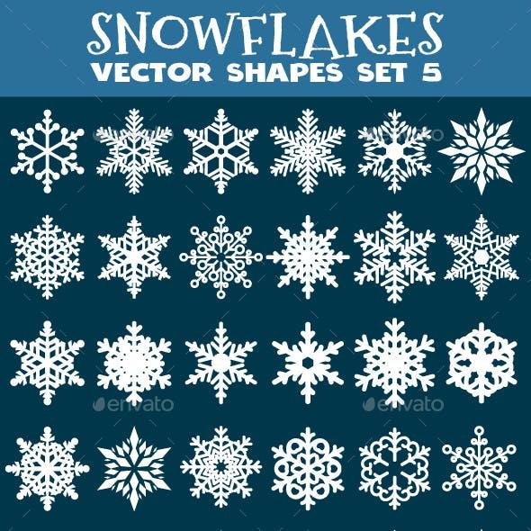 Decorative Snowflakes Vector Shapes Set 5