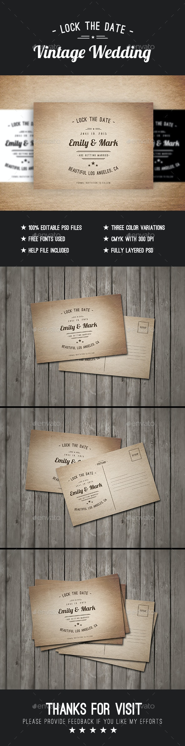 Vintage WEDDING Postcard - Cards & Invites Print Templates