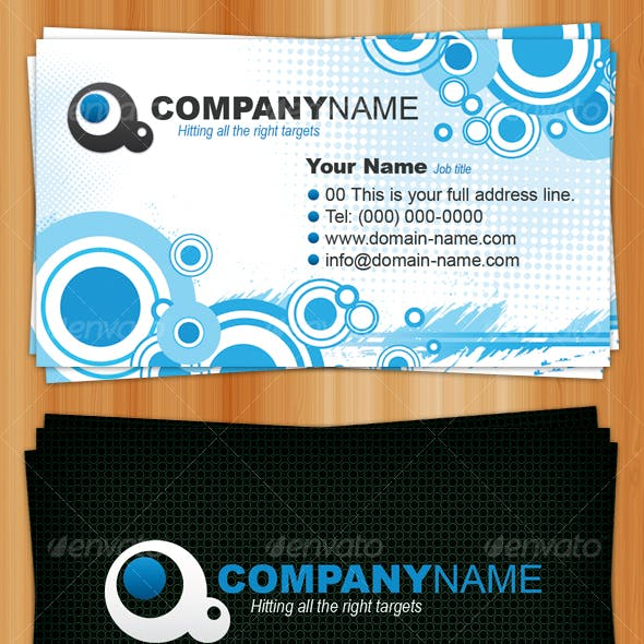 Generic Business Card - Circles and Halftones
