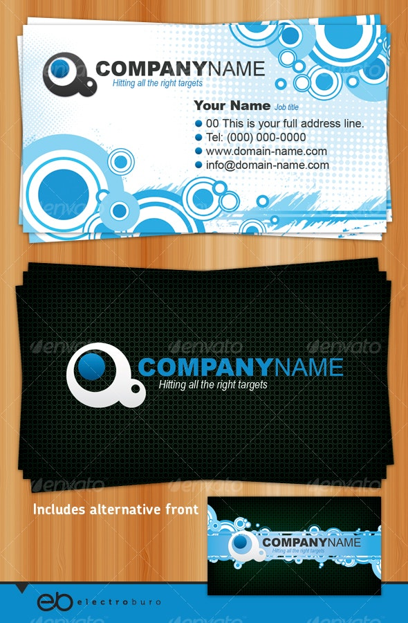 Generic Business Card - Circles and Halftones - Creative Business Cards