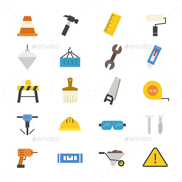 Construction Flat Icons Color