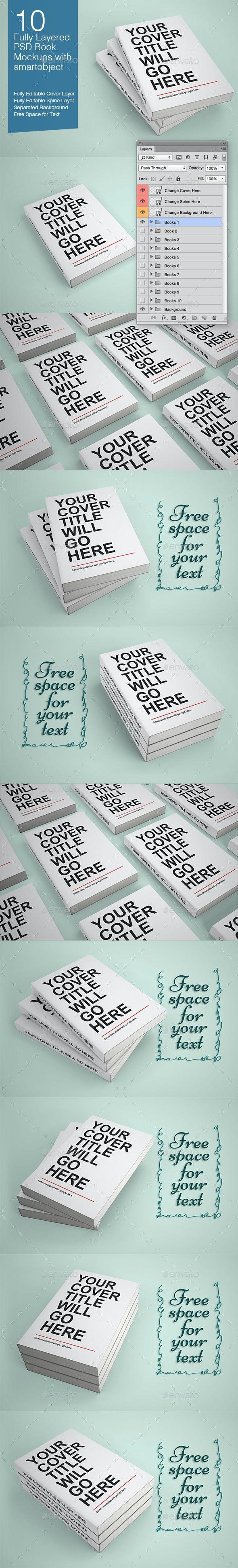 Book Mock-ups - 10 Poses - Books Print