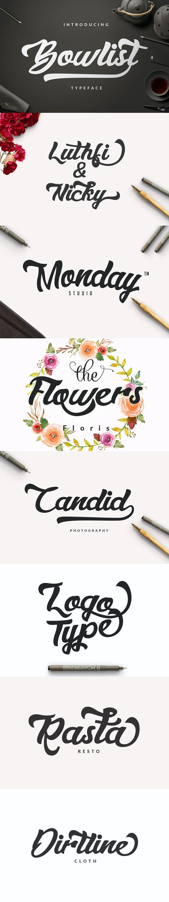 Bowlist - Logo Type  - Calligraphy Script