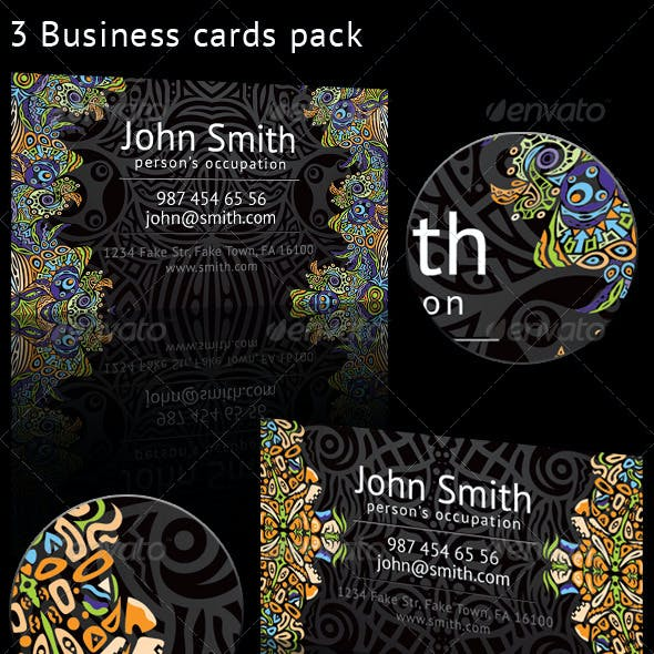 Psychedelic Ornament 3 Business Cards Pack