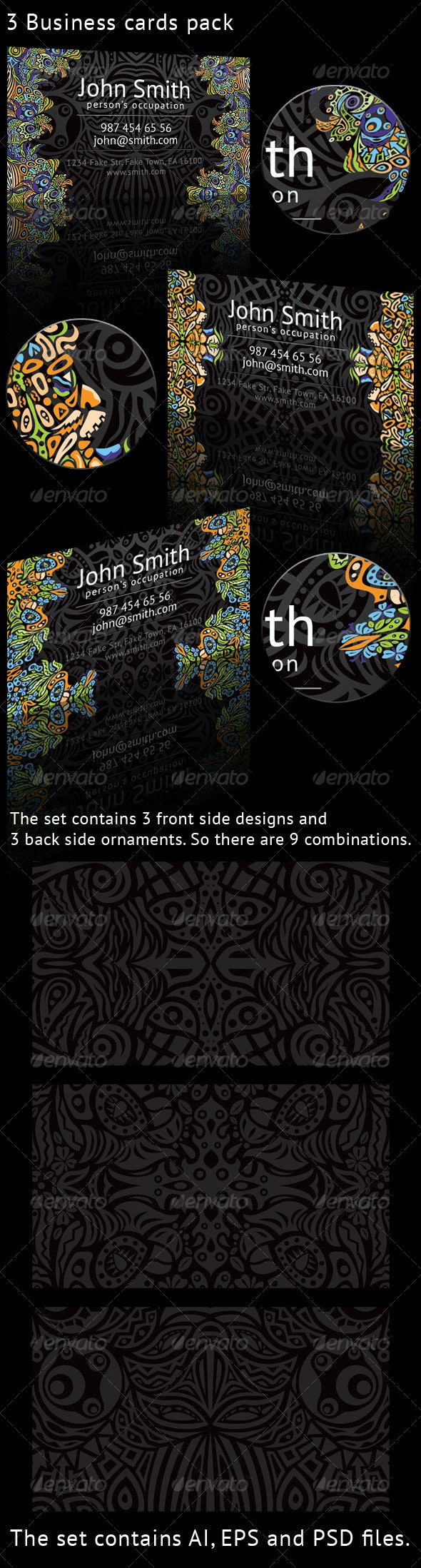Psychedelic Ornament 3 Business Cards Pack - Creative Business Cards