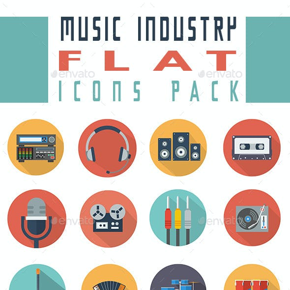 Music Industry Flat Icons
