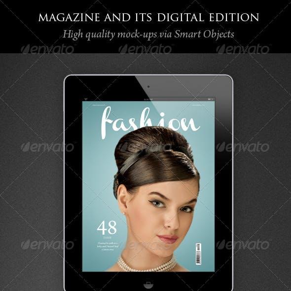 Magazine and its Digital Edition Mockup
