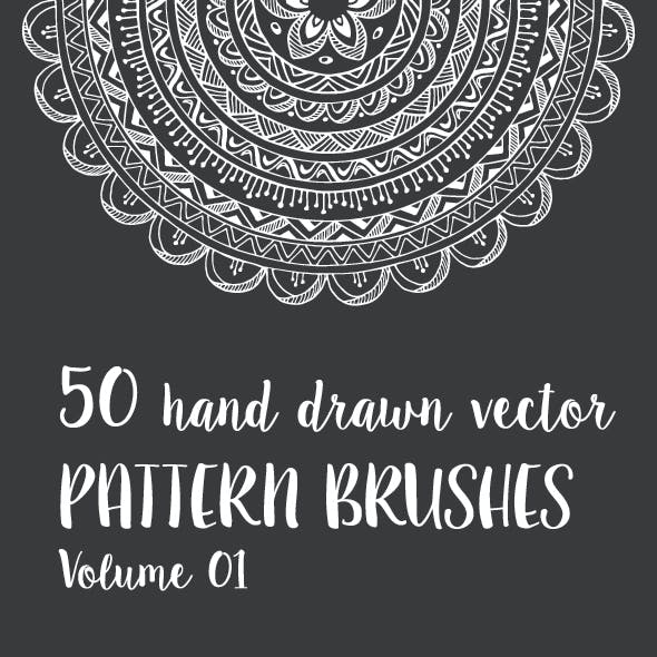 50 Hand Drawn Vector Pattern Brushes Vol. 01