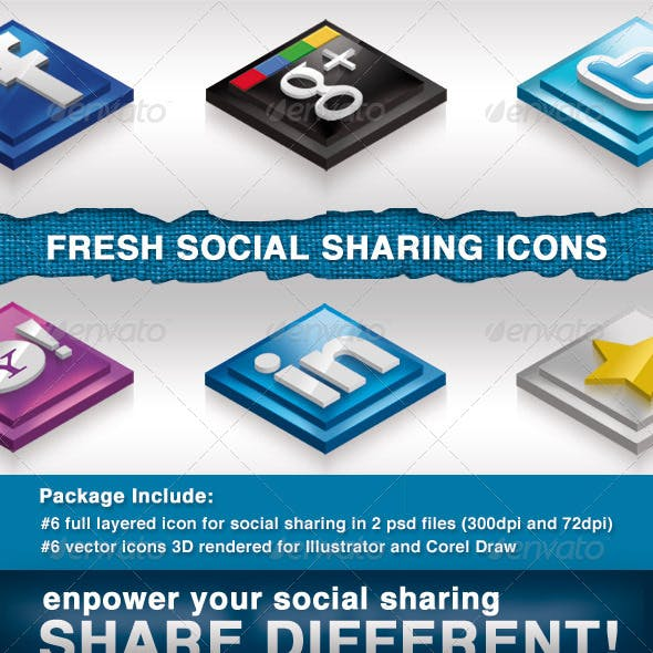 6 Social Sharing Icons w/ Color Lab