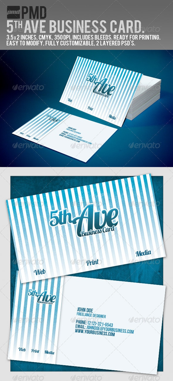 PMD - 5th Ave Business Card - Creative Business Cards