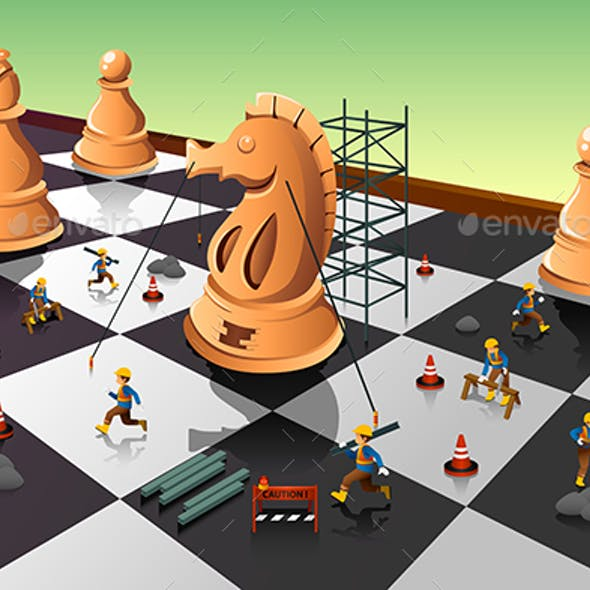 Workers Building a Knight on the Chessboard