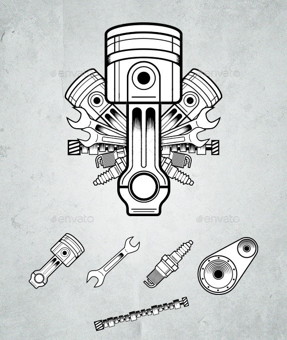 Engine parts - Objects Vectors