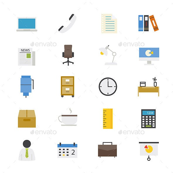 Office and Business Flat Icons Color