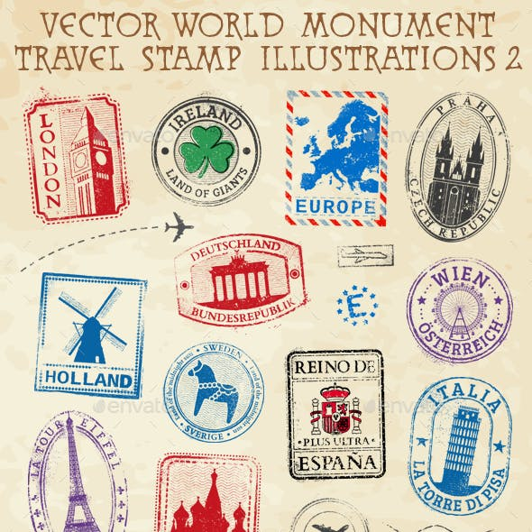 Monument Vector Travel Stamps 2 Europe