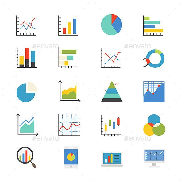 Business Chart and Graph Flat Icons Color