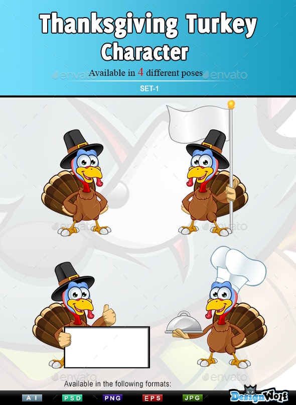 Thanksgiving Turkey Character – Set 1 - Animals Characters