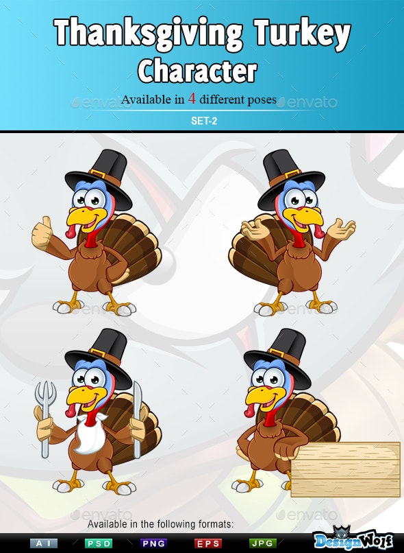 Thanksgiving Turkey Character – Set 2 - Animals Characters