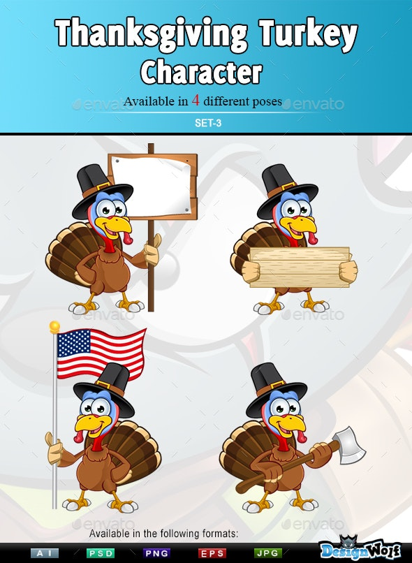 Thanksgiving Turkey Character – Set 3 - Animals Characters
