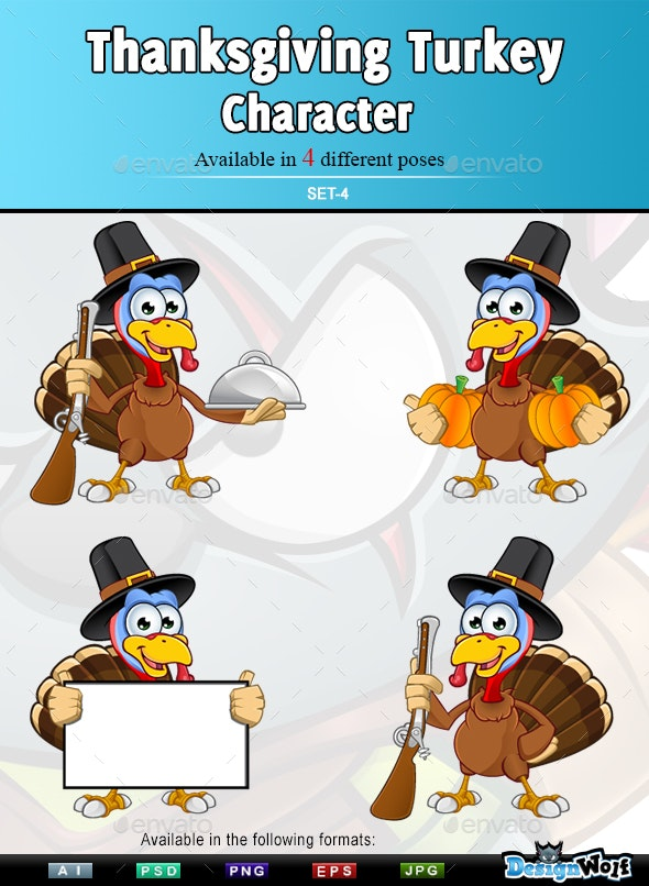 Thanksgiving Turkey Character – Set 4 - Animals Characters