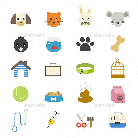 Pet Flat Icons Color