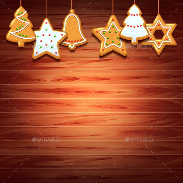 Christmas Wood Background.Christmas Cookies On Wood Background