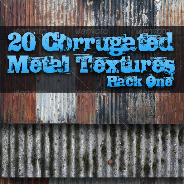 20 Corrugated Metal Textures - Pack One