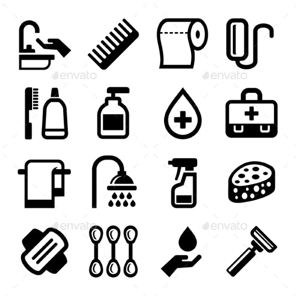 Hygiene Icons Set On White Background. Vector
