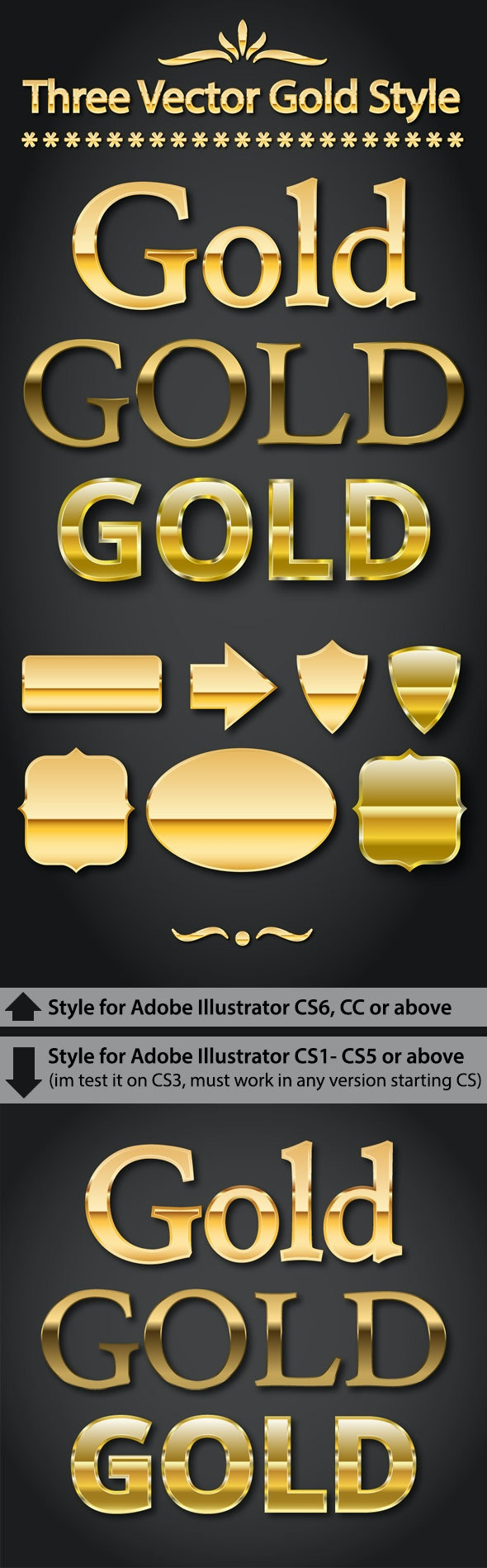 Gold Text Styles for Adobe Illustrator