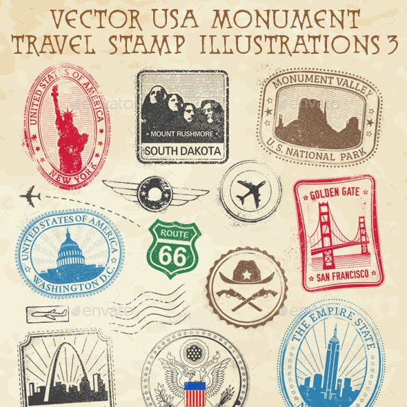 USA Travel Stamps Illustrations
