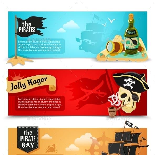 Pirates Flat Banners Set