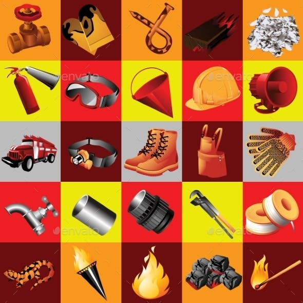 Set of Fire Equipment 25 Elements