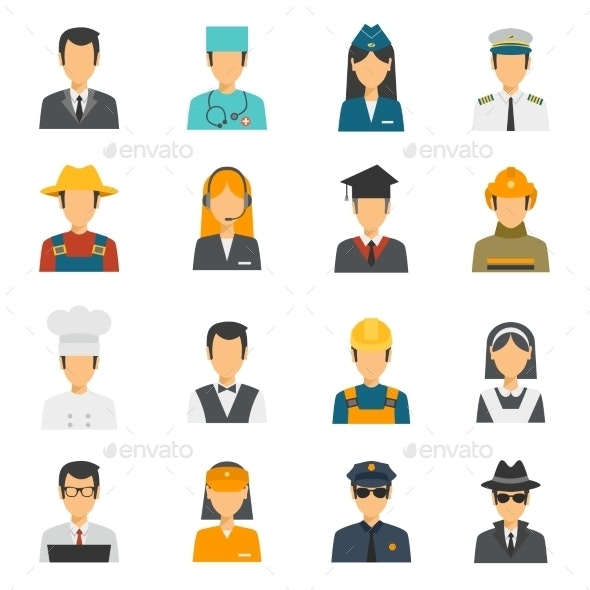 Flat Avatar Profession Set - Characters Icons