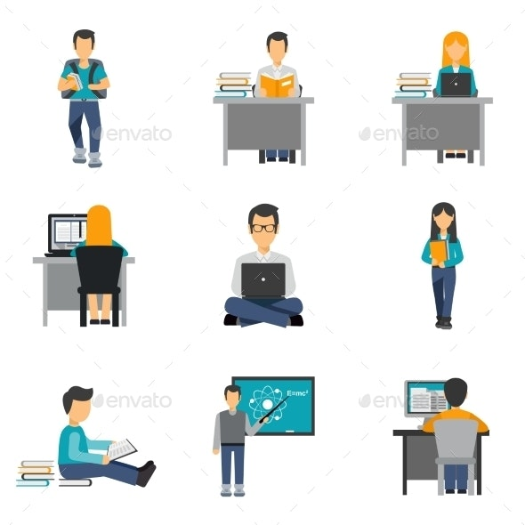 Student Flat Icons Set - People Characters