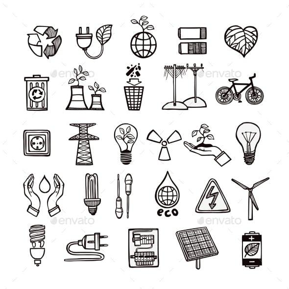 Ecology And Energy Icon Set