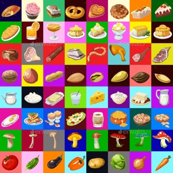 Great Set of Various Foods 64 Objects