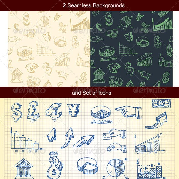 Hand-drawn finance and currency icons set and seam