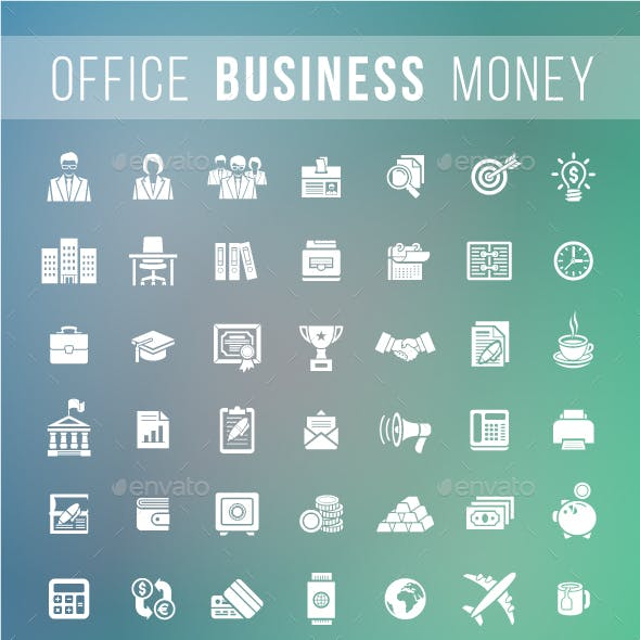 Flat Silhouette Business and Financial Icons Set