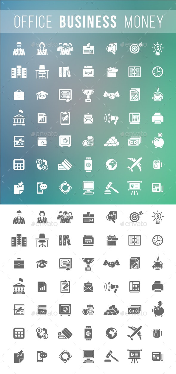 Flat Silhouette Business and Financial Icons Set - Business Icons