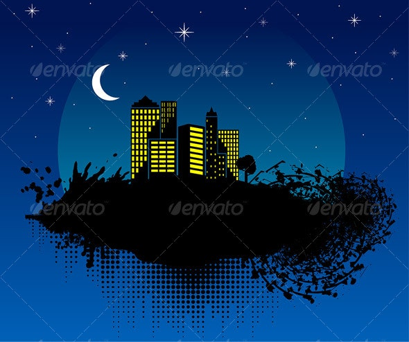 City at night - Buildings - Abstract Art - Miscellaneous Vectors