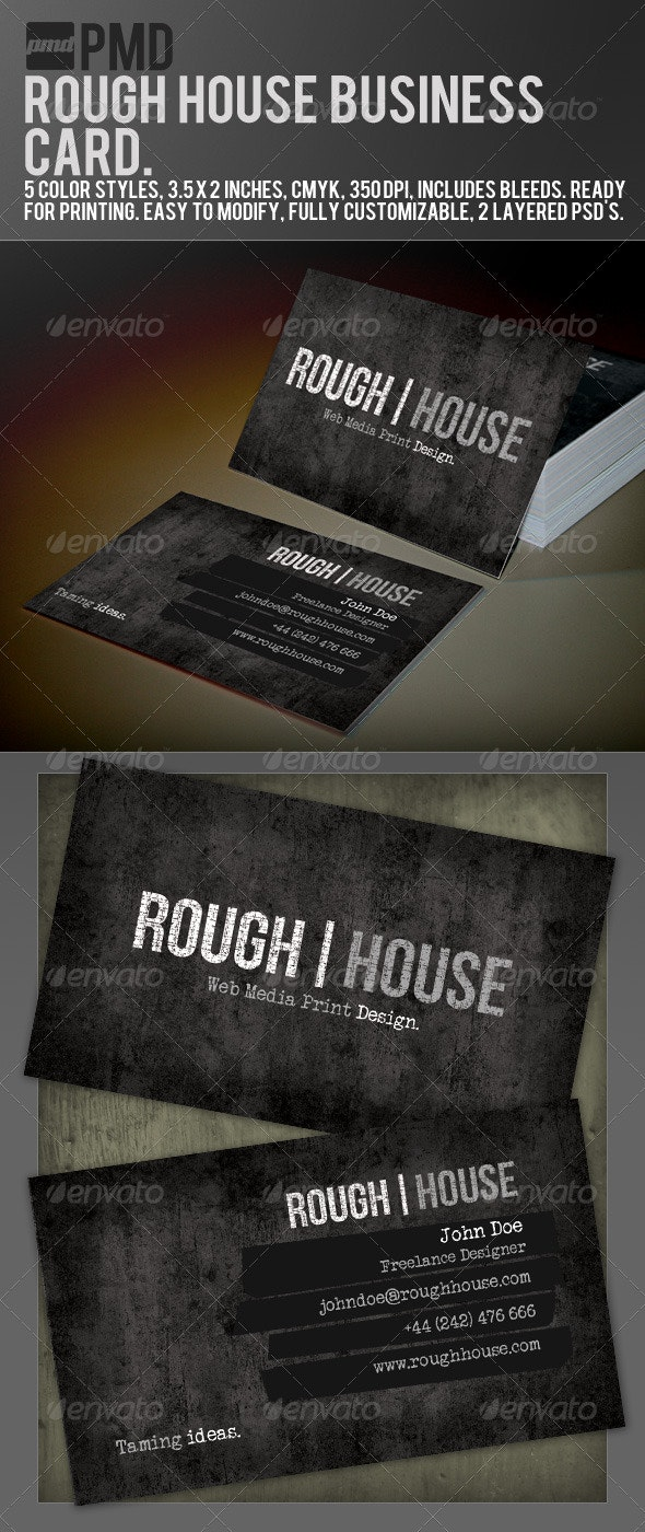 PMD - Rough House Grunge Business Card - Business Cards Print Templates