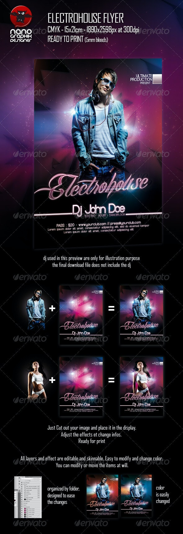 Electrohouse Flyer - Clubs & Parties Events