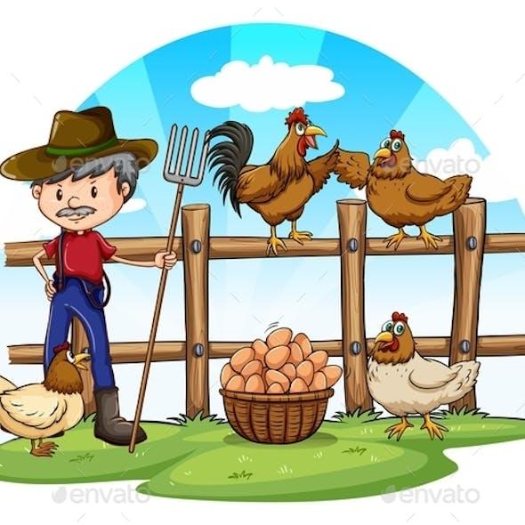 Chicken Farmer with Eggs