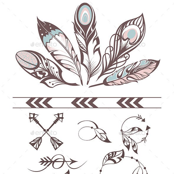 Illustration with Feathers