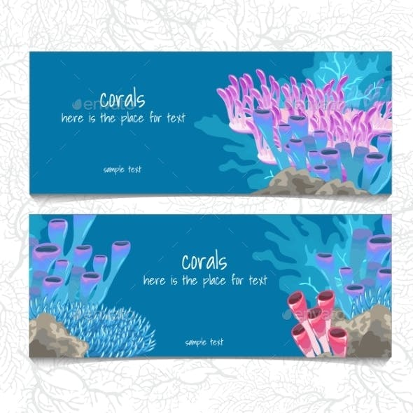 Two Horizontal Card With Corals And Coelenterates