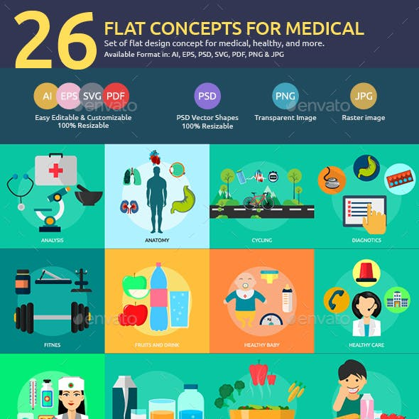 Flat Concepts for Medical & Healthy